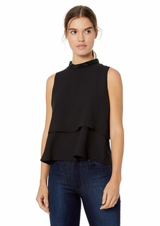 Nine West Women's Sleeveless Embellished Mock Neck Light Weight Crepe Blouse  L