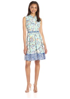 Nine West Women's Sleeveless Fit and Flare Belted Shirt Dress