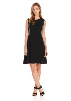 Nine West Women's Sleeveless Fit and Flare Dress with Faux Leather Detail
