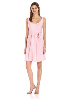 Nine West Women's Sleeveless Fit and Flare Dress with Self Sash Belt