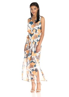 Nine West Women's Sleeveless Floor-Length Maxi Dress with Self Sash