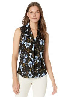 Nine West Women's Sleeveless Floral Printed TIE Neck Blouse  M
