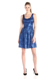 Nine West Women's Sleeveless Jacquard Fit and Flare Dress