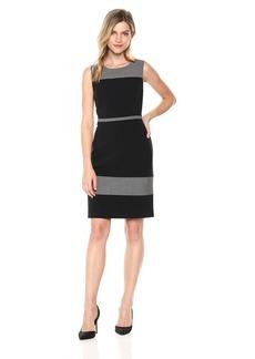 Nine West Women's Sleeveless Jewel Neck Color Block Dress
