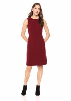 Nine West Women's Sleeveless Jewel Neck Stretch Flare Dress