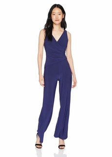 NINE WEST Women's Sleeveless Jumpsuit with Surplus Detail & Asymetrical Bodice