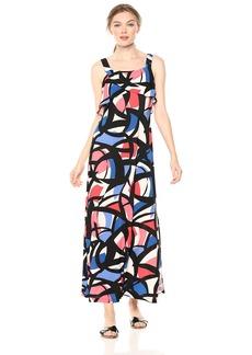 Nine West Women's Sleeveless Maxi Dress with Flounce Detail