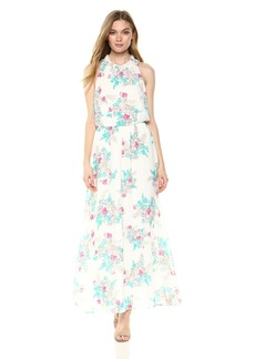 Nine West Women's Sleeveless Maxi Dress with Shirred Waist