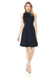 NINE WEST Women's Sleeveless Mock Neck fit and Flare Dress
