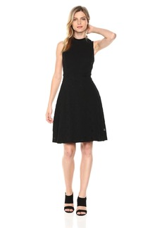 Nine West Women's Sleeveless Mockneck Fit and Flare Dress