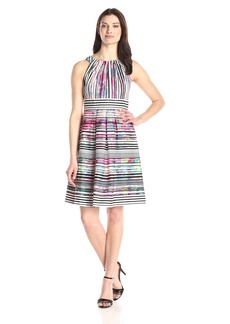 Nine West Women's Sleeveless Pleated-Neck Fit-And-Flare Dress
