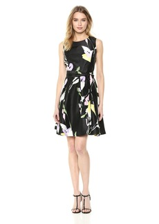 Nine West Women's Sleeveless Shantung Dress with sash