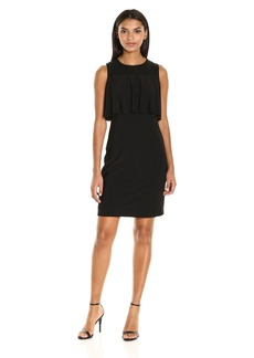 Nine West Women's Sleeveless Sheath Dress with Mesh Yoke and Flounce Detail
