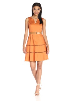 Nine West Women's Sleeveless Split-Neck Fit-And-Flare Dress with Hem Detail