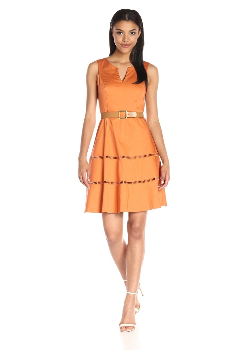 Nine West Womens Sleeveless Fit-and-Flare Dress