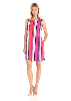 Nine West Women's Sleeveless Striped Trapeze Dress