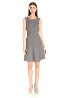 Nine West Women's Sleeveless Topstitch Dress with Belt