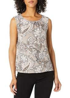 NINE WEST Women's Sleeveless U-Neck Paisley Printed Crepe Blouse  L