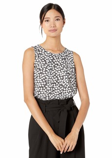 NINE WEST Women's Sleeveless U-Neck Printed Blouse