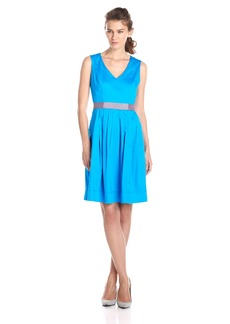 Nine West Women's Sleeveless V Neck Color Blocked Waist Band Dress