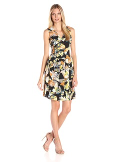 Nine West Women's Sleeveless V-Neck Drop-Waist Dress with Pleated Skirt