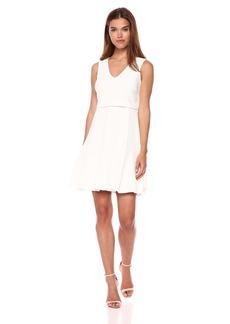 Nine West Women's Sleeveless v-Neck Popover fit and Flare Dress