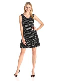 Nine West Women's Sleeveless V-Neck Printed Dress
