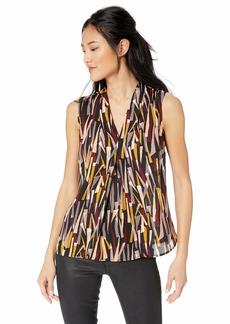 Nine West Women's Sleeveless V-Neck Printed Woven Blouse  S