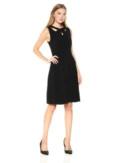 Nine West Women's Sleevless Jersey Crossneck Fit & Flare Dress