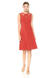 Nine West Women's Sleevless Jersey Crossneck Fit and Flare Dress