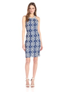 Nine West Women's Sleeveless a-Line Dress With Embellished Neckline