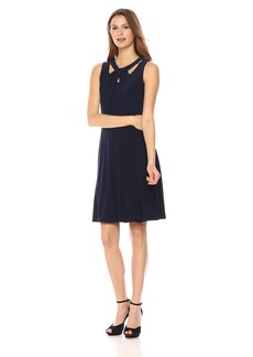 Nine West Women's Slvless Crossneck Fit and Flare