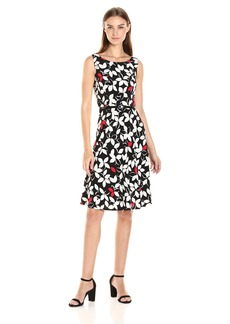Nine West Women's Slvless Fit & Flare Multi Poppy Red/Ivory