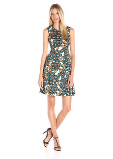 Nine West Women's Slvless Fit and Flare Dress with Bodice Insert Detail