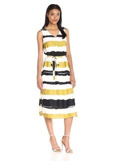 Nine West Women's Slvless Midi Length Maxi Dress with Self Sash