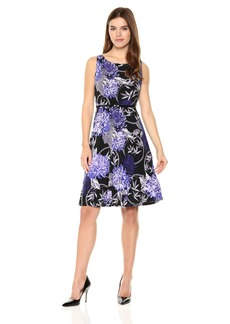 Nine West Women's Slvless Printed Fit and Flare Dress