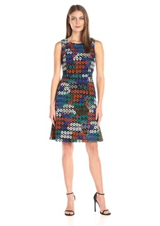 Nine West Women's Slvless Shift Dress W/ Front Panel Overlay