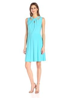 Nine West Women's Slvless Twist Front Fit & Flare Dress ICE Blue