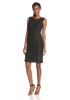 Nine West Women's Slvls Scoopneck Sheath dress with Bodice Seaming Details black/Gold
