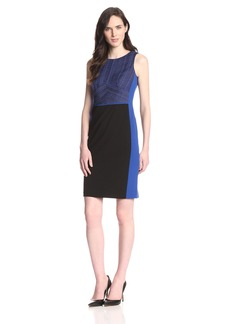 Nine West Women's Slvls Sheath dress with Waist and Side Seam Inserts Sapphire/black