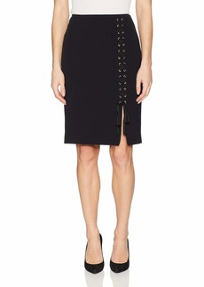 NINE WEST Women's Solid Bi Stretch Lace Up Skirt