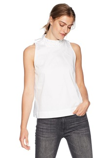 Nine West Women's Solid Cotton Sateen Blouse with Ruffled Neckline  L