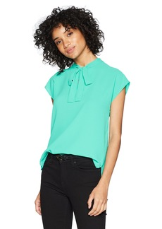 Nine West Women's Solid Crepe Blouse with TIE Front  XL