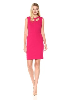 Nine West Women's Solid Crepe Dress with Cut Out Detailing on Neckline