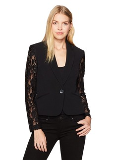 Nine West Women's Solid Crepe Jacket with Lace Sleeves