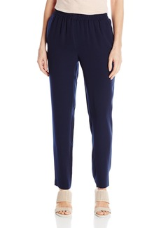 Nine West Women's Solid Crepe Pant with Elastic Waistline