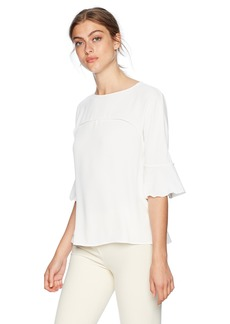 Nine West Women's Solid Crepe Ruffle Sleeve Blouse  M