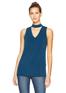 Nine West Women's Solid Knit Blouse with Collar Detailing (2)  L