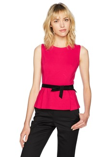 Nine West Women's Solid Ponte Blouse with Self Belt