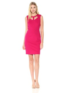Nine West Women's Solid Ponte Dress with Cut Outs in Neckline